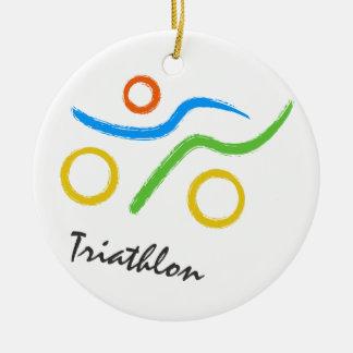 Logotipo del Triathlon Ornamento Para Arbol De Navidad