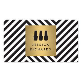 Logotipo del trío del esmalte de uñas en modelo tarjetas de visita