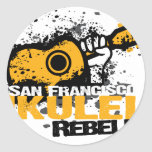logotipo del Ukulele del sf Etiquetas Redondas