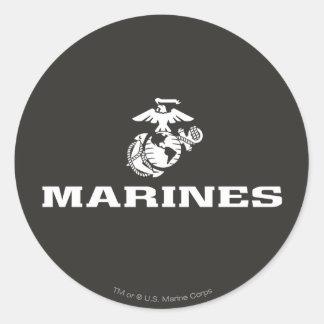 Logotipo del USMC apilado - blanco Etiquetas Redondas