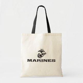 Logotipo del USMC apilado - negro Bolsa De Mano