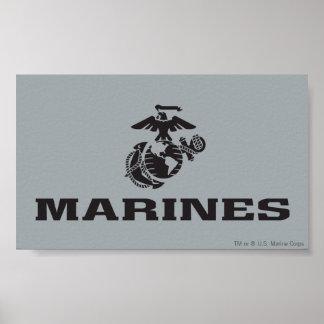 Logotipo del USMC apilado - negro Poster