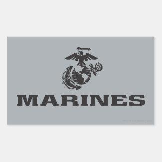 Logotipo del USMC apilado - negro Pegatina Rectangular
