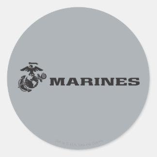 Logotipo del USMC - negro Pegatina Redonda