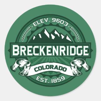 """Logotipo del verde de Breckenridge """"Colorado"""" Pegatina Redonda"""