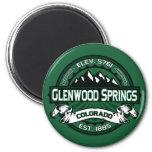 """Logotipo del verde de Glenwood Springs """"Colorado"""" Imán Redondo 5 Cm"""