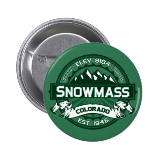 """Logotipo del verde de Snowmass """"Colorado"""" Pin Redondo De 2 Pulgadas"""