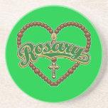 Logotipo del verde del corazón del rosario posavasos personalizados