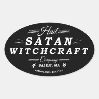 Logotipo del vintage de la brujería de Satan Salem Pegatinas De Ovaladas
