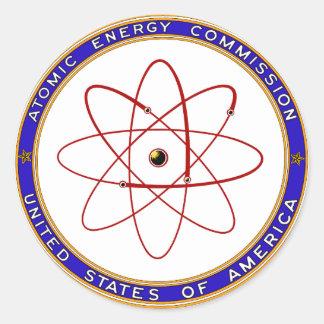 Logotipo del vintage de la Comisión de energía Pegatina Redonda