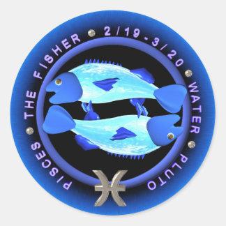 logotipo del zodiaco de Piscis del valxart Etiquetas Redondas