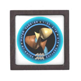 logotipo del zodiaco del acuario del valxart caja de recuerdo de calidad