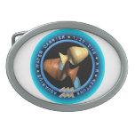 logotipo del zodiaco del acuario del valxart hebillas cinturon ovales