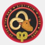 Logotipo del zodiaco del aries de Valxart Pegatina Redonda