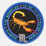 Logotipo del zodiaco del escorpión de Valxart Etiquetas Redondas
