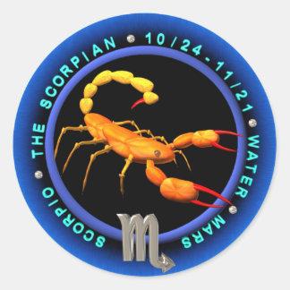 Logotipo del zodiaco del escorpión de Valxart Pegatina Redonda
