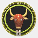 Logotipo del zodiaco del tauro de Valxart Etiqueta Redonda