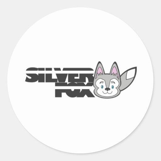 Logotipo del zorro plateado pegatinas redondas