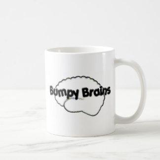 Logotipo desigual de los cerebros taza de café