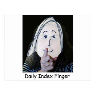 Logotipo diario de la obra clásica del dedo índice postales