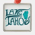 Logotipo dibujado mano del lago Tahoe Adorno Navideño Cuadrado De Metal