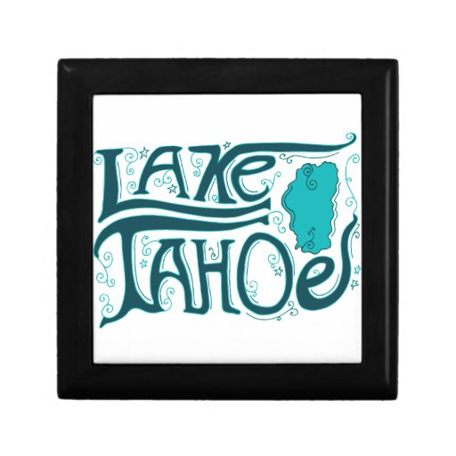 Logotipo dibujado mano del lago Tahoe Joyero Cuadrado Pequeño