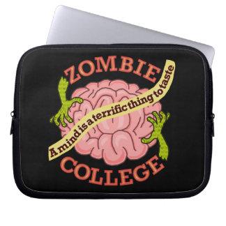 Logotipo divertido de la universidad del zombi mangas portátiles