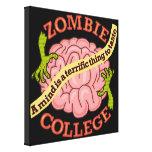 Logotipo divertido de la universidad del zombi lona envuelta para galerias