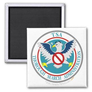 Logotipo divertido de TSA con el dibujo animado Ea Imán Cuadrado