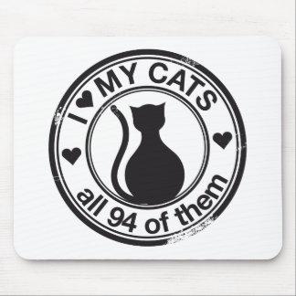 Logotipo divertido del gato alfombrilla de raton