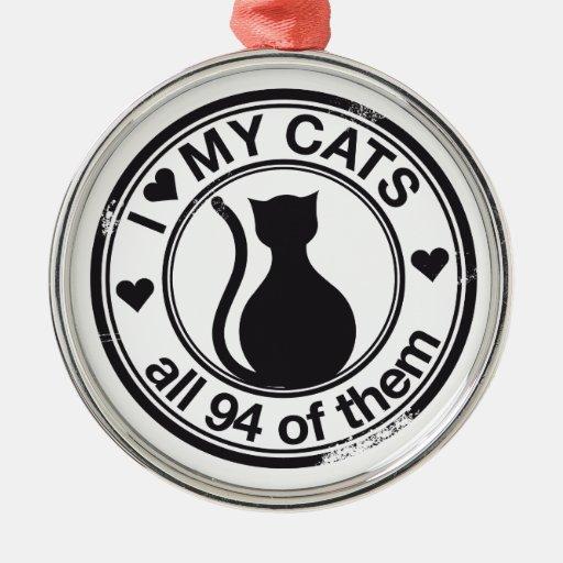 Logotipo divertido del gato adorno redondo plateado