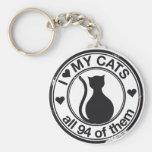 Logotipo divertido del gato llaveros personalizados