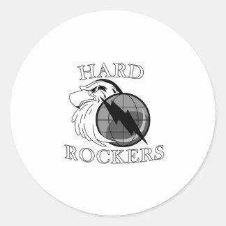 Logotipo duro de los ejes de balancín pegatina redonda