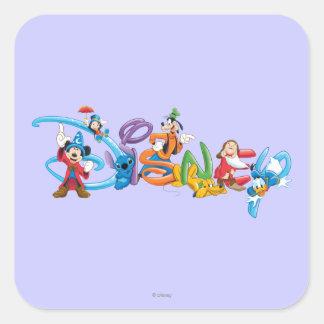 Logotipo el | Mickey de Disney y amigos Pegatina Cuadrada