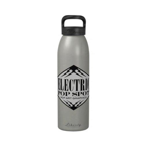 Logotipo eléctrico del punto del estallido botellas de agua reutilizables