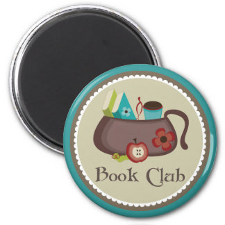 Logotipo elegante de la bolsa de libros del imán redondo 5 cm