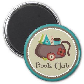 Logotipo elegante de la bolsa de libros del imanes de nevera