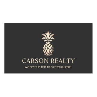 Logotipo elegante de la piña de las propiedades tarjetas de visita