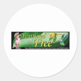 Logotipo emplumado y libre pegatina redonda