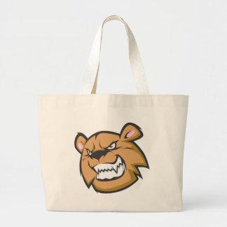 Logotipo enojado de encargo del dibujo animado del bolsa tela grande