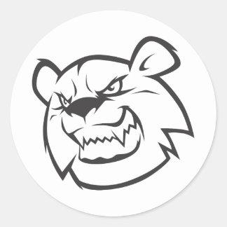 Logotipo enojado de encargo del esquema del oso pegatina redonda