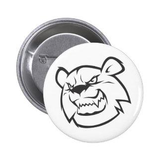 Logotipo enojado de encargo del esquema del oso pin redondo de 2 pulgadas