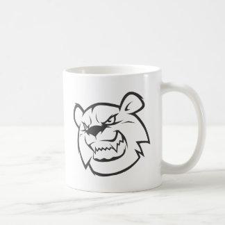 Logotipo enojado de encargo del esquema del oso taza básica blanca