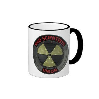 Logotipo enojado de la unión del científico con taza a dos colores