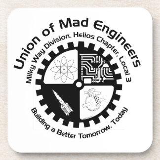 Logotipo enojado de los ingenieros posavasos