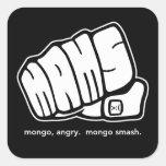 Logotipo enojado del puño del choque del Mongo del Calcomanías Cuadradas