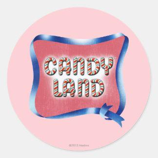 Logotipo envejecido tierra del caramelo pegatina redonda
