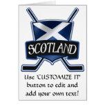 Logotipo escocés de la bandera del hockey sobre hi tarjeta de felicitación