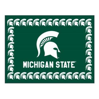 Logotipo espartano del casco de la universidad de postales