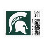 Logotipo espartano del casco de la universidad de timbres postales